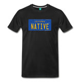 NATIVE vintage California blue/yellow license plate on a unisex T-shirt - black