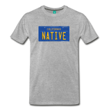 NATIVE vintage California blue/yellow license plate on a unisex T-shirt - heather gray