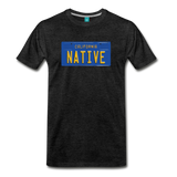 NATIVE vintage California blue/yellow license plate on a unisex T-shirt - charcoal gray