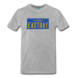 EASTBAY vintage California blue/yellow license plate on a unisex T-shirt - heather gray