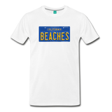 BEACHES vintage California blue/yellow license plate on a unisex T-shirt - white