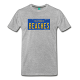 BEACHES vintage California blue/yellow license plate on a unisex T-shirt - heather gray