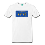 RETRO vintage California blue/yellow license plate on a unisex T-shirt - white
