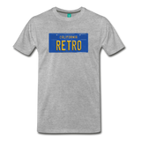 RETRO vintage California blue/yellow license plate on a unisex T-shirt - heather gray