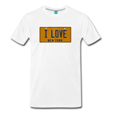 I LOVE vintage New York yellow/navy blue license plate on a unisex T-shirt - white