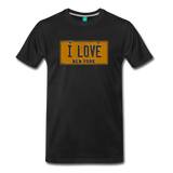 I LOVE vintage New York yellow/navy blue license plate on a unisex T-shirt - black