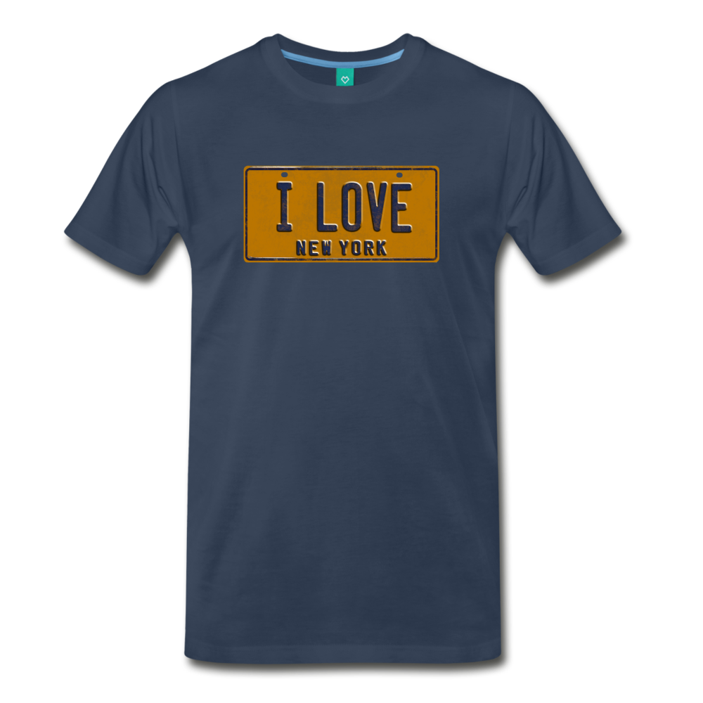 I LOVE vintage New York yellow/navy blue license plate on a unisex T-shirt - navy