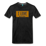 I LOVE vintage New York yellow/navy blue license plate on a unisex T-shirt - charcoal gray