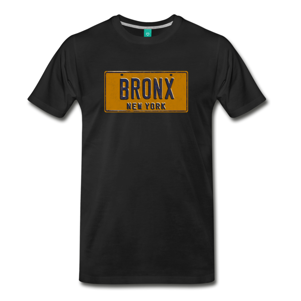 BRONX vintage New York yellow/navy blue license plate on a unisex T-shirt - black