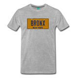 BRONX vintage New York yellow/navy blue license plate on a unisex T-shirt - heather gray