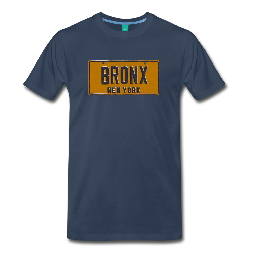 BRONX vintage New York yellow/navy blue license plate on a unisex T-shirt - navy