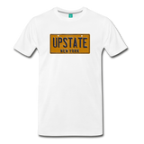 UPSTATE vintage New York yellow/navy blue license plate on a unisex T-shirt - white