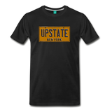 UPSTATE vintage New York yellow/navy blue license plate on a unisex T-shirt - black