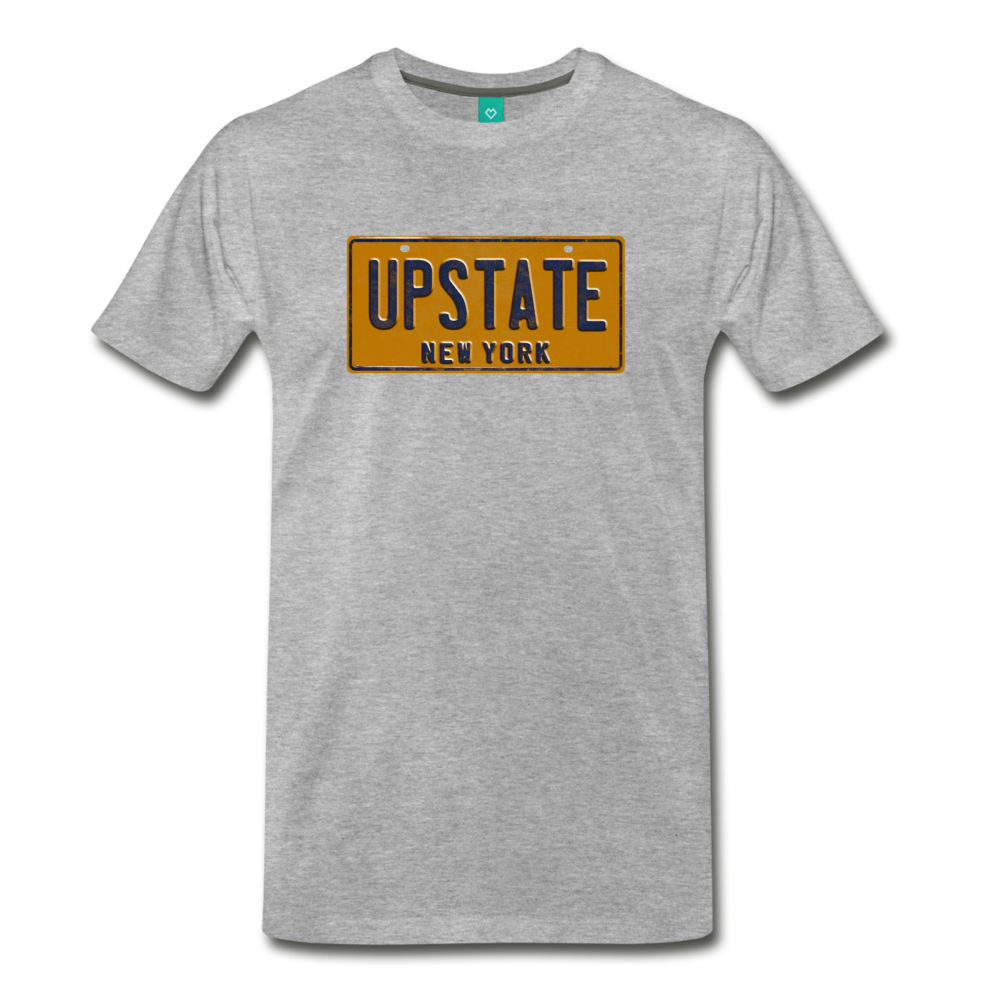 UPSTATE vintage New York yellow/navy blue license plate on a unisex T-shirt - heather gray