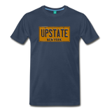 UPSTATE vintage New York yellow/navy blue license plate on a unisex T-shirt - navy