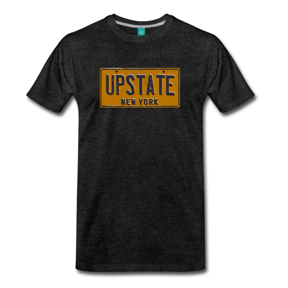 UPSTATE vintage New York yellow/navy blue license plate on a unisex T-shirt - charcoal gray
