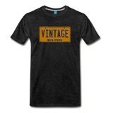 VINTAGE vintage New York yellow/navy blue license plate on a unisex T-shirt - charcoal gray