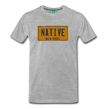 NATIVE vintage New York yellow/navy blue license plate on a unisex T-shirt - heather gray
