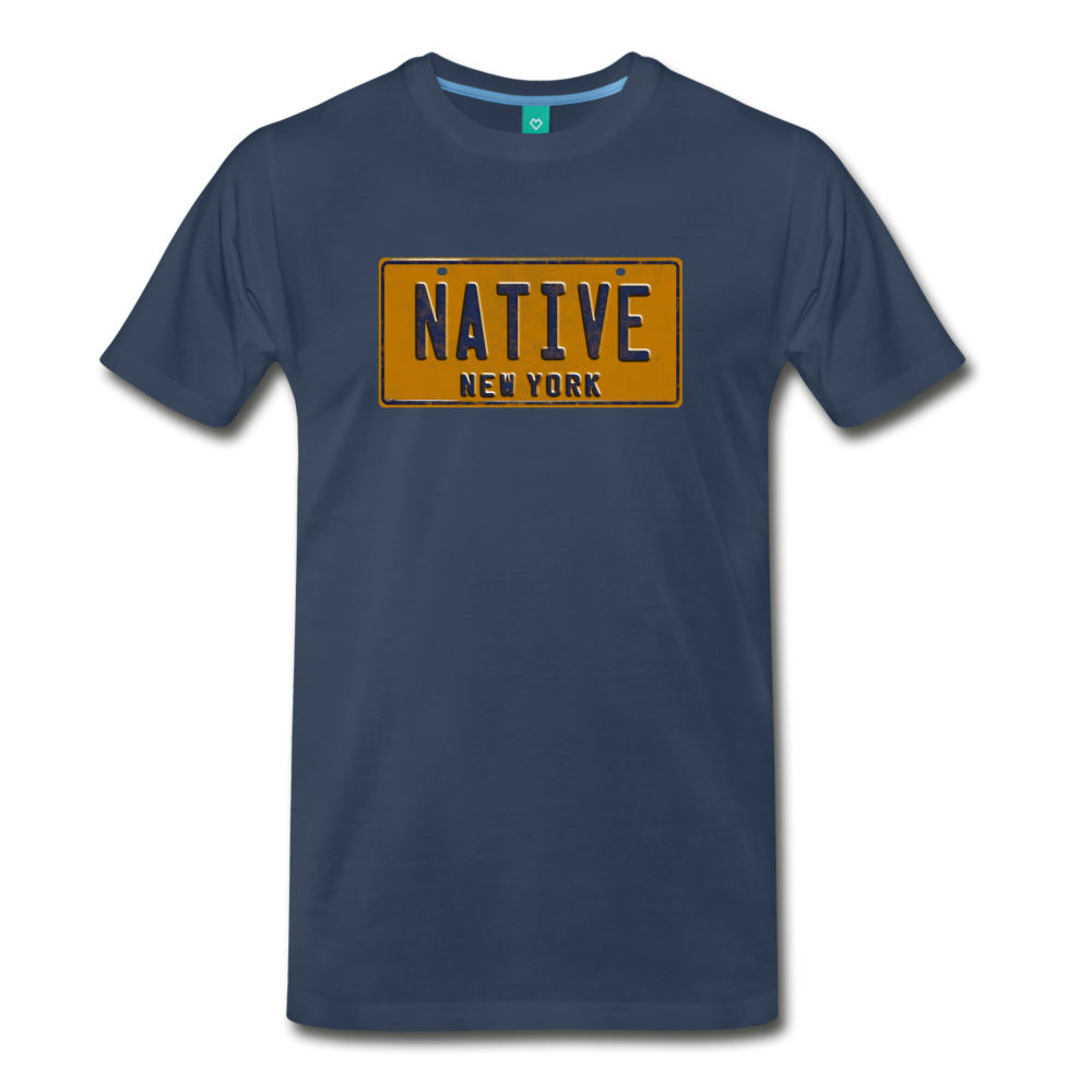 NATIVE vintage New York yellow/navy blue license plate on a unisex T-shirt - navy