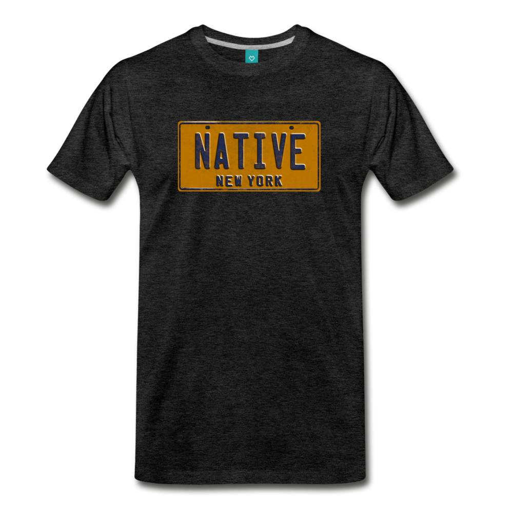 NATIVE vintage New York yellow/navy blue license plate on a unisex T-shirt - charcoal gray