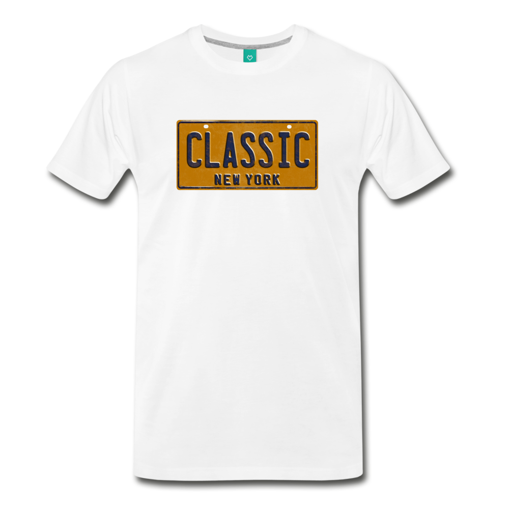 CLASSIC vintage New York yellow/navy blue license plate on a unisex T-shirt - white