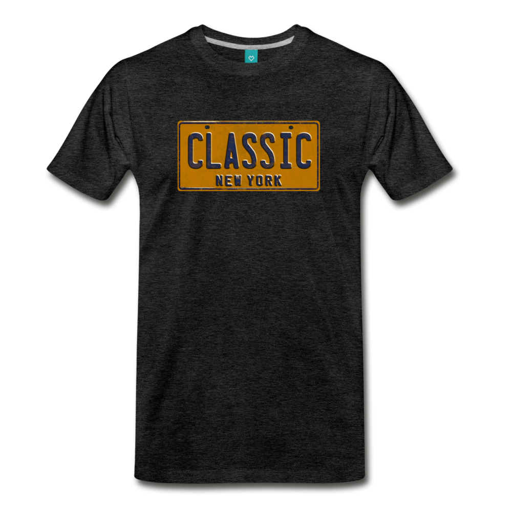 CLASSIC vintage New York yellow/navy blue license plate on a unisex T-shirt - charcoal gray