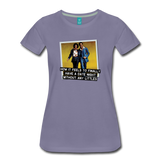 Funny women's T-shirt: Date night - premium women's short-sleeve tee - washed violet