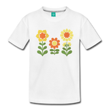 Sunnyflowers vintage graphic on a premium kids' T-shirt - white