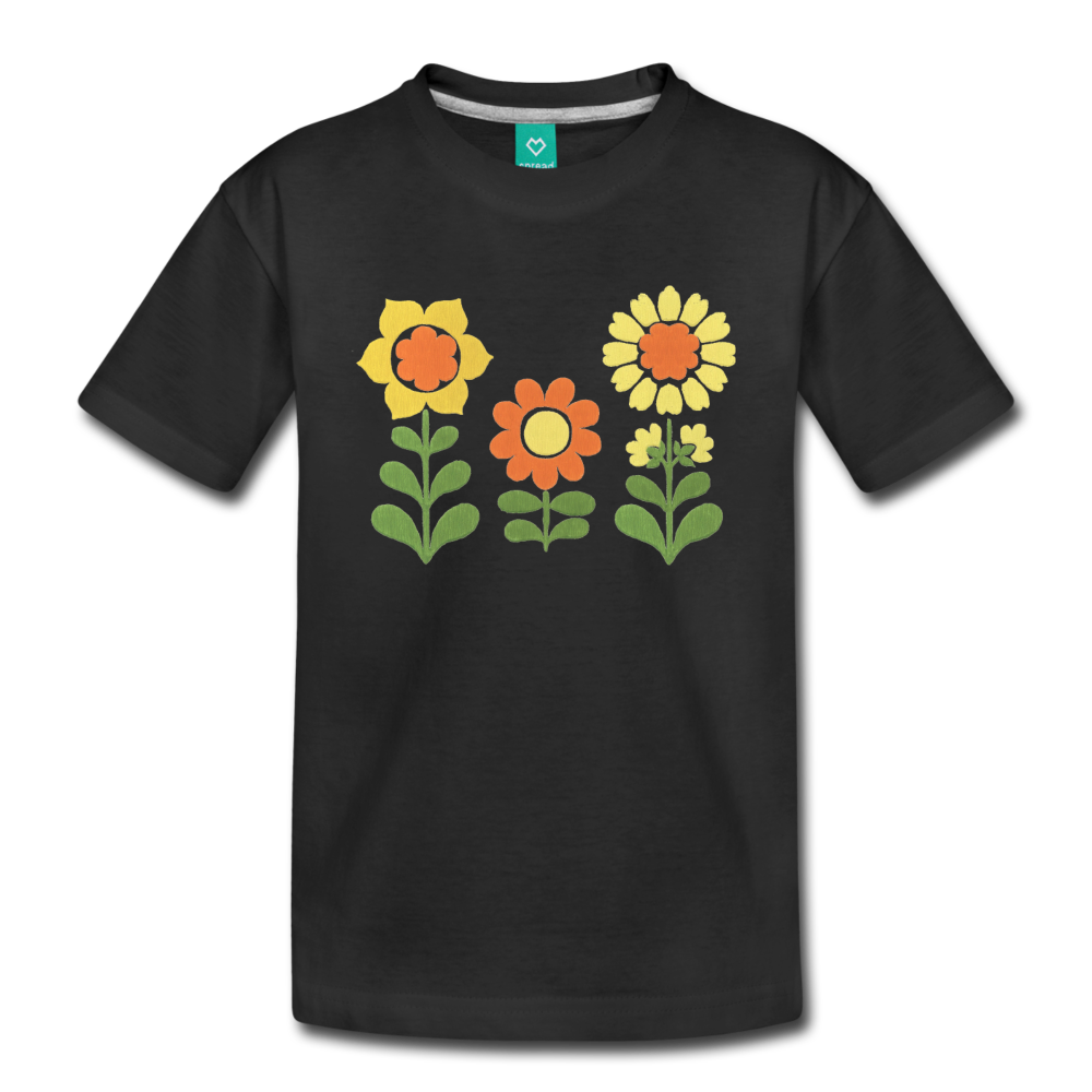 Sunnyflowers vintage graphic on a premium kids' T-shirt - black
