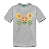 Sunnyflowers vintage graphic on a premium kids' T-shirt - heather gray