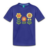 Sunnyflowers vintage graphic on a premium kids' T-shirt - royal blue
