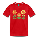 Sunnyflowers vintage graphic on a premium kids' T-shirt - red