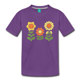 Sunnyflowers vintage graphic on a premium kids' T-shirt - purple