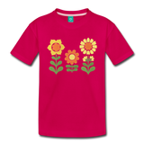 Sunnyflowers vintage graphic on a premium kids' T-shirt - dark pink