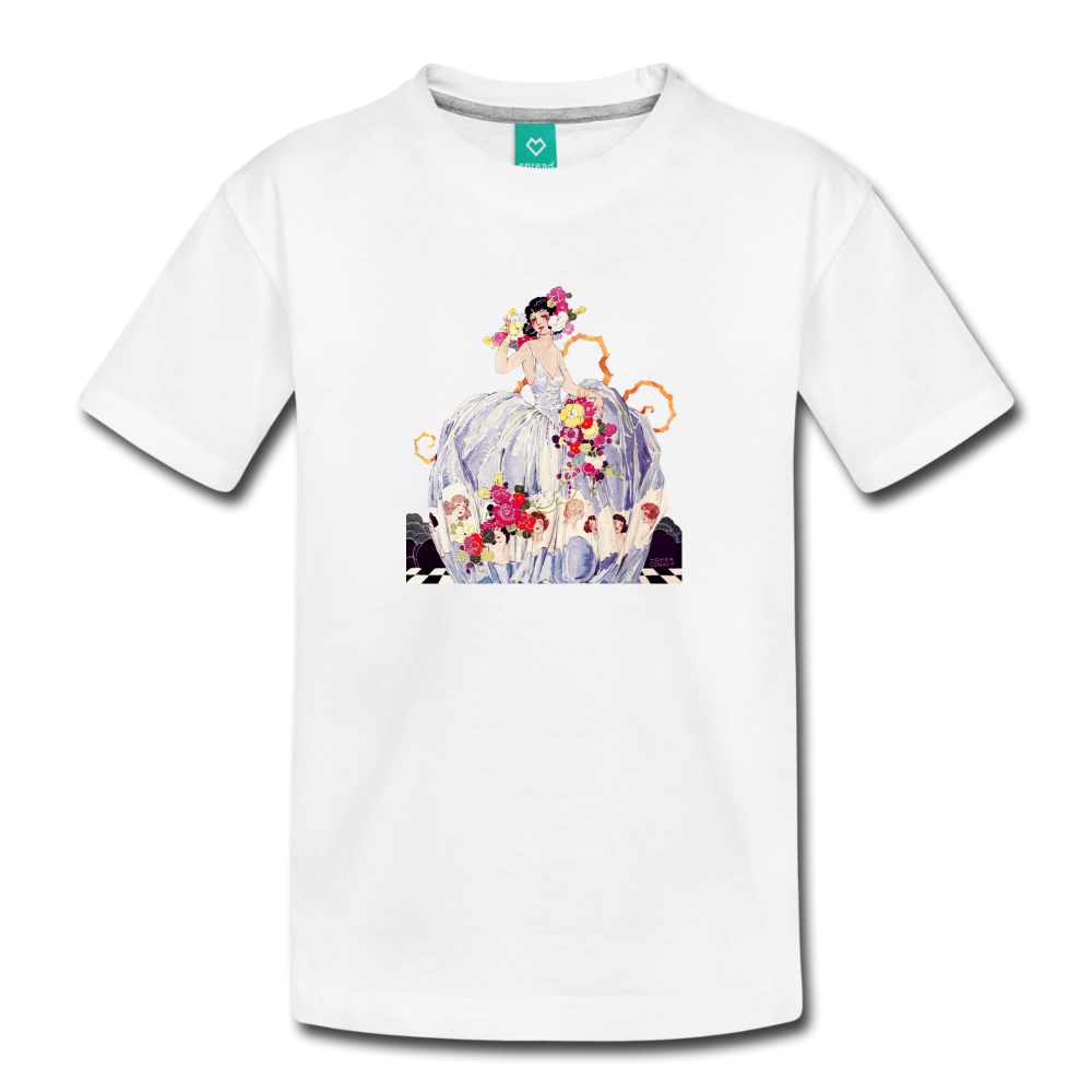 Princess in a beautiful ball gown - vintage graphic on a kids' premium T-shirt - white