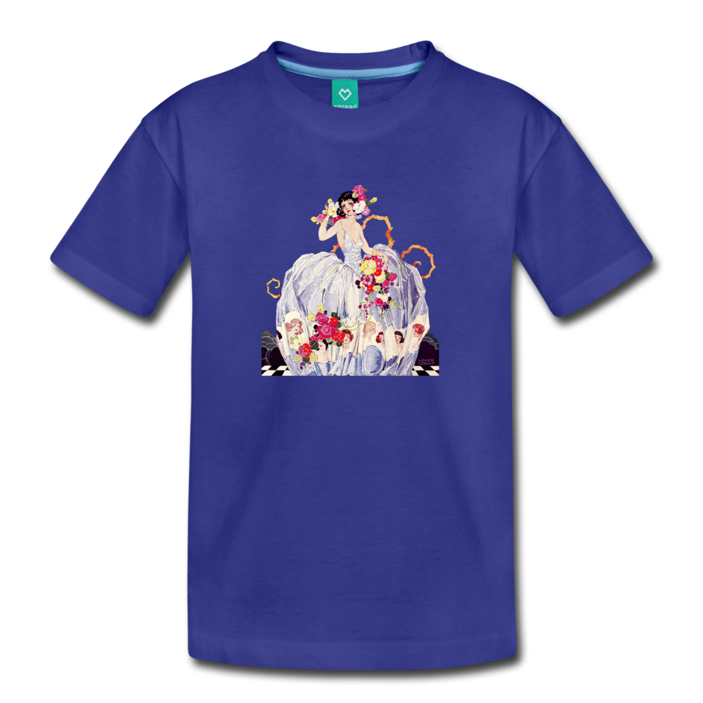 Princess in a beautiful ball gown - vintage graphic on a kids' premium T-shirt - royal blue