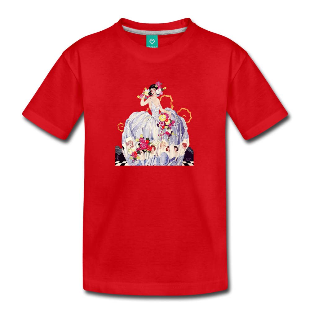 Princess in a beautiful ball gown - vintage graphic on a kids' premium T-shirt - red
