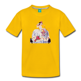 Princess in a beautiful ball gown - vintage graphic on a kids' premium T-shirt - sun yellow