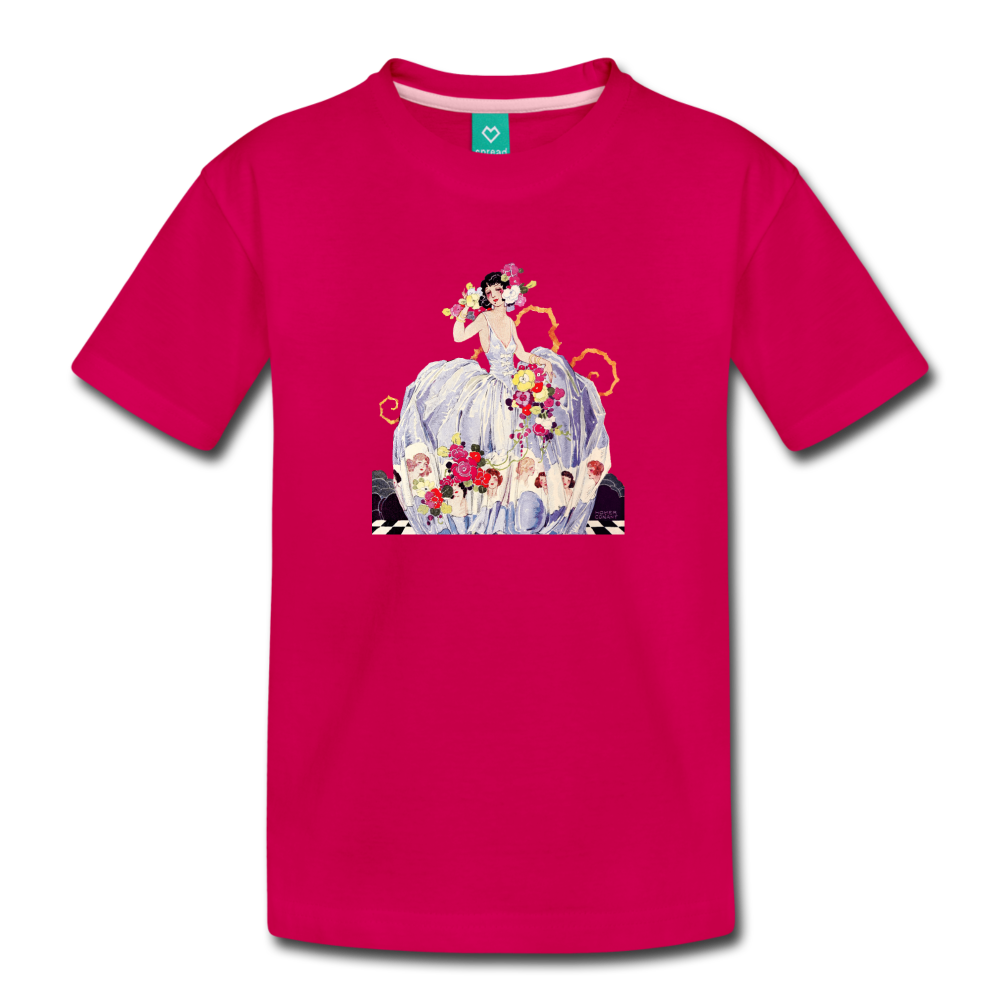 Princess in a beautiful ball gown - vintage graphic on a kids' premium T-shirt - dark pink