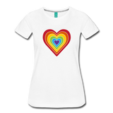 Rainbow heart retro-style graphic on a women's premium T-shirt