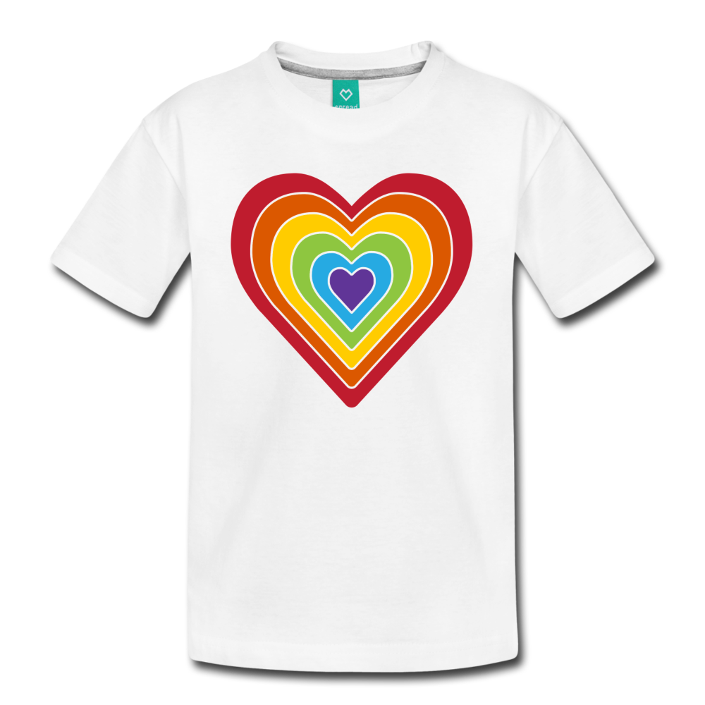 Rainbow heart retro-style graphic on a kids' premium T-shirt - white