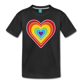 Rainbow heart retro-style graphic on a kids' premium T-shirt - black