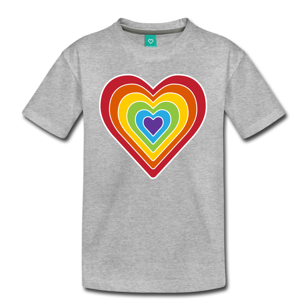 Rainbow heart retro-style graphic on a kids' premium T-shirt - heather gray
