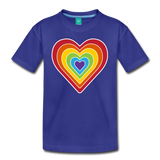 Rainbow heart retro-style graphic on a kids' premium T-shirt - royal blue