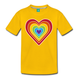 Rainbow heart retro-style graphic on a kids' premium T-shirt - sun yellow