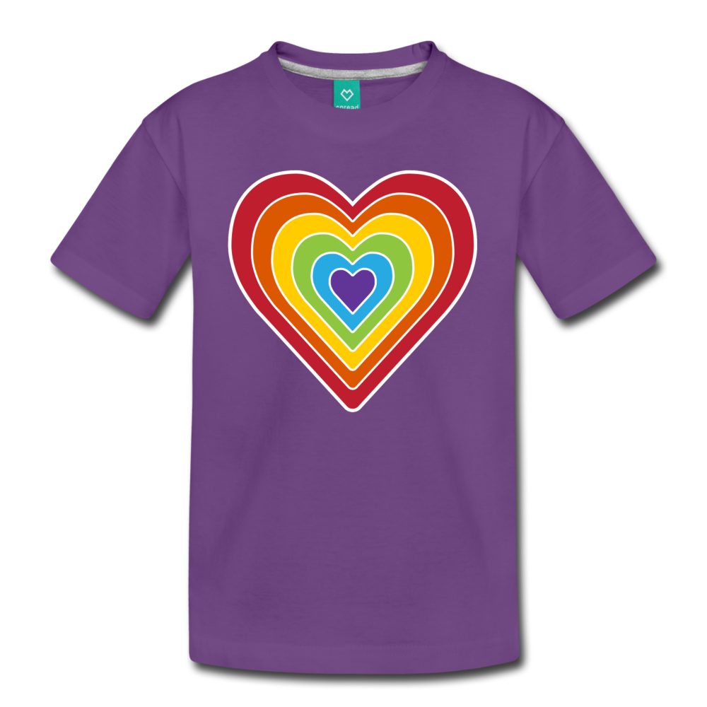 Rainbow heart retro-style graphic on a kids' premium T-shirt - purple