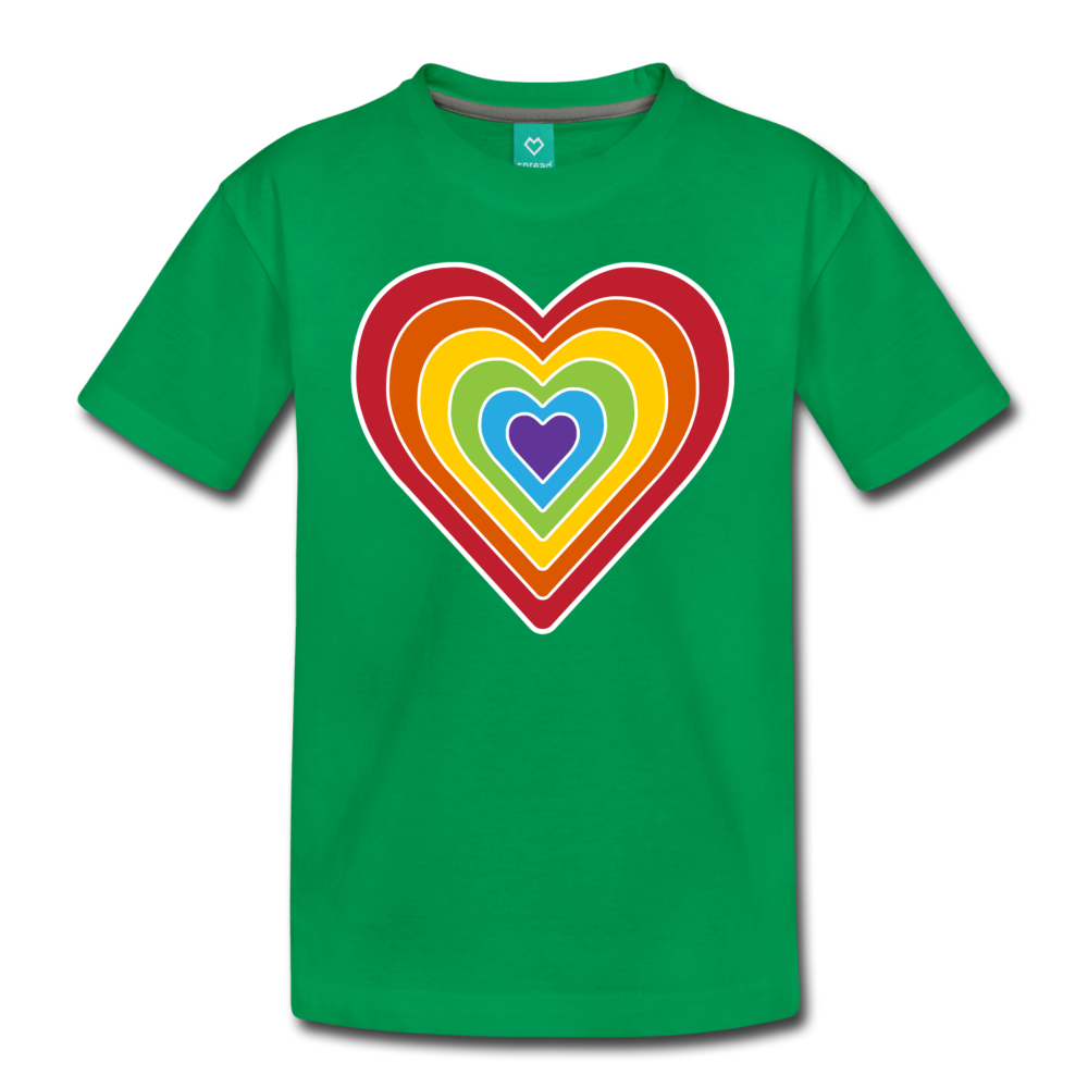 Rainbow heart retro-style graphic on a kids' premium T-shirt - kelly green