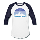 COLORADO - Vintage-style state design on a unisex baseball T-shirt - white/navy