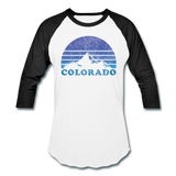 COLORADO - Vintage-style state design on a unisex baseball T-shirt - white/black