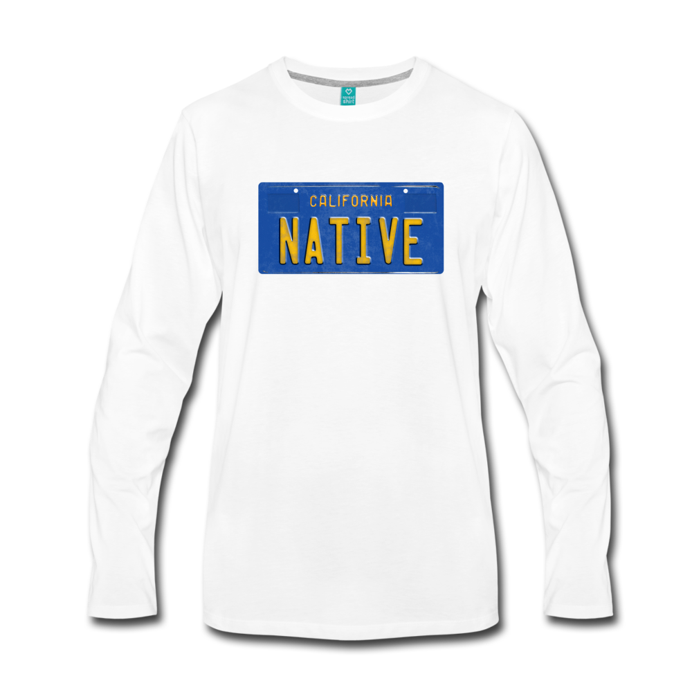 NATIVE vintage California blue/yellow license plate on a unisex long-sleeved hirt - white